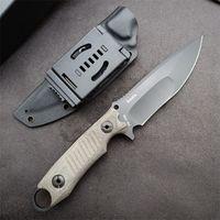 Açık Survival Düz Taktik Bıçak DC53 Siyah Titanyum Kaplamalı Bırak Noktası Bıçak Tam Tang Keten Kolu Bıçakları Kydex ile