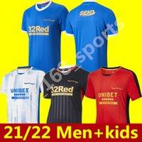 21 22 Glasgow Rangers Soccer Jerseys 2021 2022 Hagi Defoe Davis Morelos Maillots De Pie Arfield Kennedy Middleton Men + Kit Kit Uniforme de fútbol