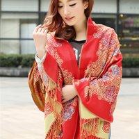 Yunnan primavera e outono inverno estilo nacional algodão e cânhamo cachecol dupla face longa sway shawl