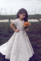 Girl's Dresses Flower Girls For Weddings Jewel Neck Full Lace Short Sleeves Sweep Train Party Birthday Children Communion Pageant