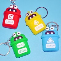 Keychains Creative Soft Plastic Sorting Trash Can Pendant Girl Cute Bag Accessories Small Gift Key Chain