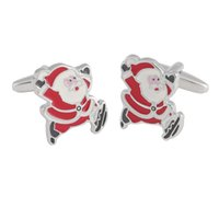 Christmas Santa Claus Cufflinks for Male Female Red Enameled Epoxy Cuff Links Party Present Whole& Retail