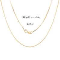 18k sólido corrente de ouro jóias 0.8mm real amarelo caixa de ouro links cadeia colar para mulher