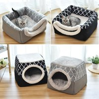 Cat Beds & Furniture Pet Bed For Cats Dogs Soft Nest Kennel Cave House Sleeping Bag Mat Pad Tent Pets Winter Warm Cozy 2 Size L XL Colors