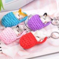 Cute Sleeping Cat Pompom Keychains For Women Girls Handmade Woven Shoes Faux Rabbit Fur Fluffy Car Key Rings