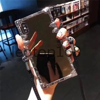 أزياء مصمم الحالات الهاتف لفون 12 12Pro ماكس 11 11PRO XS XR Xsmax 7/8 أعلى جودة الفاخرة الكهربائية مرآة الهاتف المحمول حالة مع الحبل
