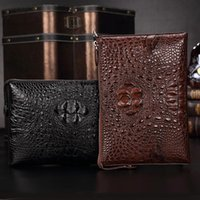 Real Crocodile Men's Clutch Leather Bag Envelope Business Youth Casual Sewxr