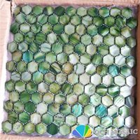 Wallpapers Freshwater Shell Mother Of Pearl Mosaic Tile For Kitchen Backsplash And Bathroom Wall Green Color Hexagon Style