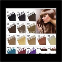 19 couleurs de la peau de cheveux indiens de la peau Remy Remise double face dans des extensions de cheveux humains 20pcs / lot 6ldhj 16qyg