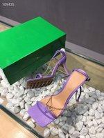 2021 Diseñador de lujo Moda Stud Sandalias Cuero genuino Slingback Bombas Damas Sexy Tacones altos Remaches de Moda Partido Zapato High Heel SX0401
