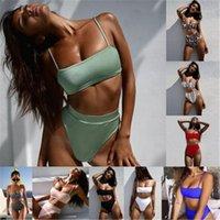 Verano femenino casual alta cintura bikini para mujer colores sólidos sling traje de baño moda tendencia de moda recolectar los bras de sillas de corte Split Bikini Bikini traje de baño