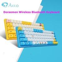 EST Akko Doraemon Dorami Kablosuz Bluetooth Klavye 3068v2 RGB Arka Işık Mekanik Ofis Hediye Klavyeleri