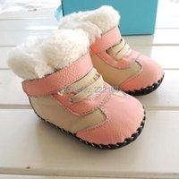 First Walkers Omn Brand Inverno Addensare Pelliccia in Pelliccia Genuine Pelle Baby Girls Pink Blu Stivali da neve Infantile Bambini bambini Scarpe da ragazzi