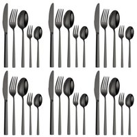 Dinnerware Sets Western Cutlery Set 30 Pieces Stainless Steel Tableware Black Spoon Fork Dining Knife Complete Home Kitchen