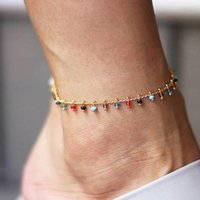 Kvinnor gril anklets kedja färg liten boll metall tunn anklet armband fot smycken strand sommargåva