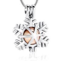 Collane pendenti in acciaio inox cremazione Urn Collana Noleggio Natale Presente Presente - Snowflake Memorial Remembrance Gioielli per le donne uomini