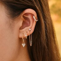 Hoop & Huggie 5Pair Fashion Round Twist Copper Small Earrings Set For Women Simple Gold CZ Crystal Long Chain Earring Jewelry 2021