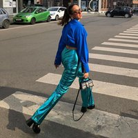 Women's Pants & Capris Fashion High Street Solid Casual Straight For Women 2021 Glossy Long Srteetwear Female Clothes