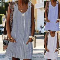Casual Dresses Women Summer Mini Dress Plus Size Boho Stripe Short Party Beach Pocket Sleeveless Loose Sundress 2021