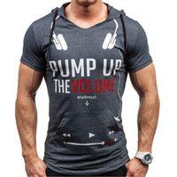 망 편지 패턴 Tshirt 패션 트렌드 짧은 소매 문자 편지 스키니 후드 탑 티셔츠 봄 남성 새로운 캐주얼 슬림 티셔츠