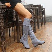 Mode Sexy Slim Fit Elastische Herde über den Kniestiefel Frauen Schuhe Herbst Winter Sexy Damen High Heel Wedges Lange Oberschenkel High Botas