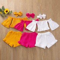 Conjuntos de ropa para niños Trajes de niñas Ropa de bebé Trajes para niños Suits de verano Manga corta Tops Tops Pantalones cortos Bown DeeDebands 3pcs B5992