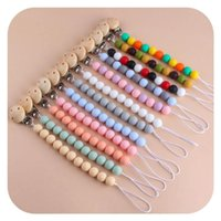 Pacifier Holders Baby Chain Clips Weaning Teething Natural Wooden Teether Infant Feeding Newborn Teeth Practice Toys