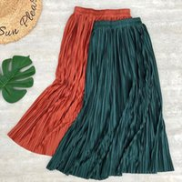 Skirts Sping Summer Women Midi Pleated Metallic Color Shinny Long Casual Daily Skirt For