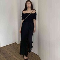 Women's Tracksuits New Summer Women Casual Sexy Off Shoulder Black Jumpsuit Trousers Overalls Ladies High Waist Wide Leg Playsuit