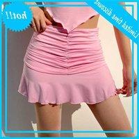 Iamsure sexy cordão plissado micro mini saias casuais envoltório sólido saia alta cintura mulher 2020 coreano streetwear estilo de moda