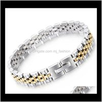 Link, Armbänder Drop Lieferung 2021 9Dot5mm 15mm Verkauf von Schmuck Edelstahl Mode Hiphop Gold Sier Watchstrap Type Simple Chain Adcepta