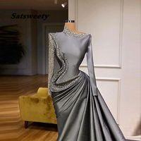 SauDi Arabic Long Sleeves Evening Dresses Major eading Pearsl Sequins Satin Prom Dress vestidos de fiesta Formal Party Gowns