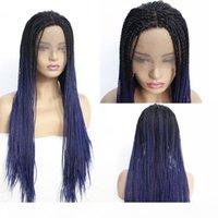 Оптовая продажа двух тона омбул цвет кружева фронт парики синтетические термостойкие волосы половина рук связанные плетеные парики свободная часть для черных женщин