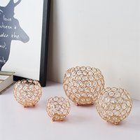 European Style Party Electroplating Iron Crystal Ball Candlestick Creative Decoration Penholder