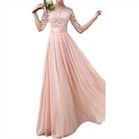 Fête longue dentelle robe de mousseline de mousseline de mousseline de soie robes élégantes princesse plus taille 5XL demi manches à manches dames vestidos longo robe femme