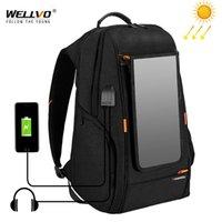 Panela de painel solar ao ar livre Mochilas de viagem Multifuncional Multifuncional Backpack Men Bolsa de laptop com punho USB Carregamento Porta XA279Z 210322
