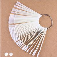 Hair Brushes 50PCS False Nail Tips Fan Shaped Fake Art Polish UV Gel Sticker Decoration Display Stick Salon Tool Clear Natural