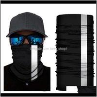 Reflective Stripe Solid Bandana Neck Headband Cycling Fishing Scarf Bandana Men Women Headwear Multifunction Seamless Face Mask Ewe627 T4Uxi