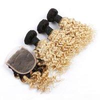 Dunkle Wurzeln Jungfrau Body Wave Human Hair Bündel Verlängerung mit Spitzenverschluss Blondine Zwei Ton Ombre 1b 613 Haar Schuss mit Schließung 4x4