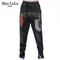 ماكس اللولو البريطاني مصمم الربيع إمرأة خمر مطبوعة جينز السيدات الأسود فضفاض pantalons الإناث فاسق نمط بنطلون زائد الحجم