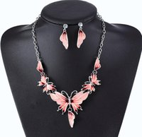 M Drip Oil Butterfly Necklace Statement Earring Women Bohe Punk Vintage Cute Animal Crystal Collar Choker Jewelry Sets
