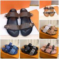 Designer Femmes Diaposiches Sandal Bom Dia Dia Plat Mule Pantoufle Patentes Toile Sandales de plage Soles en caoutchouc Soles Été Flip Tongs avec boîte Eu35-46