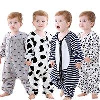 Schlafsäcke Säuglingsfrühling Herbst einteiliger Pyjamas Flanell Baby Split-Beinbeutel Kinder Cartoon Anti Kick Steppdecke Nachtwäsche Kleidung