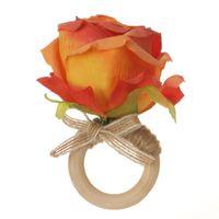 Decorative Flowers & Wreaths Silk Cloth Wooden Circle El Set Up Napkin Ring Wedding Decoration Navy Dinning Room Simulation 9cm*7cm Artifici