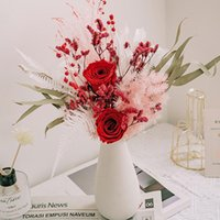 Decorative Flowers & Wreaths Preserved Rose Dried Bouquet Modern Natural Eucalyptus Leaves Plant Pampas Grass Wedding Arrangement Decor