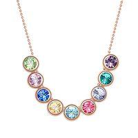 11.11 Многоцветное ожерелье из австрии Crystal высочайшее качество розовое золото цветное покрытие мода круг круглая шарм дизайн евреуя кулон не включен