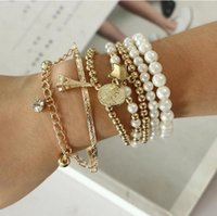 6pcs set Gold Silver Color Link Chain Pearl Beads Bracelet Star Multilayer Beaded Bracelets Set for Women Charm Party Jewelry Gift wholesale