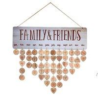 어머니를위한 최고의 선물 목조 가족 생일 알림 캘린더 보드 DIY 기념일 트래커 플라크 벽 태그와 매달려 BWE8574