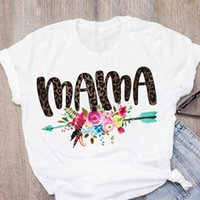 Women's T-Shirt Women Print Casual Mama Letters Love Flower Leopard Summer Lady Girl Womens Clothing Tops Shirt Tees Female T