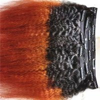 brazilian human virgin kinky straight hair weft ombre 1b red weaves unprocessed double drawn clip in extensions